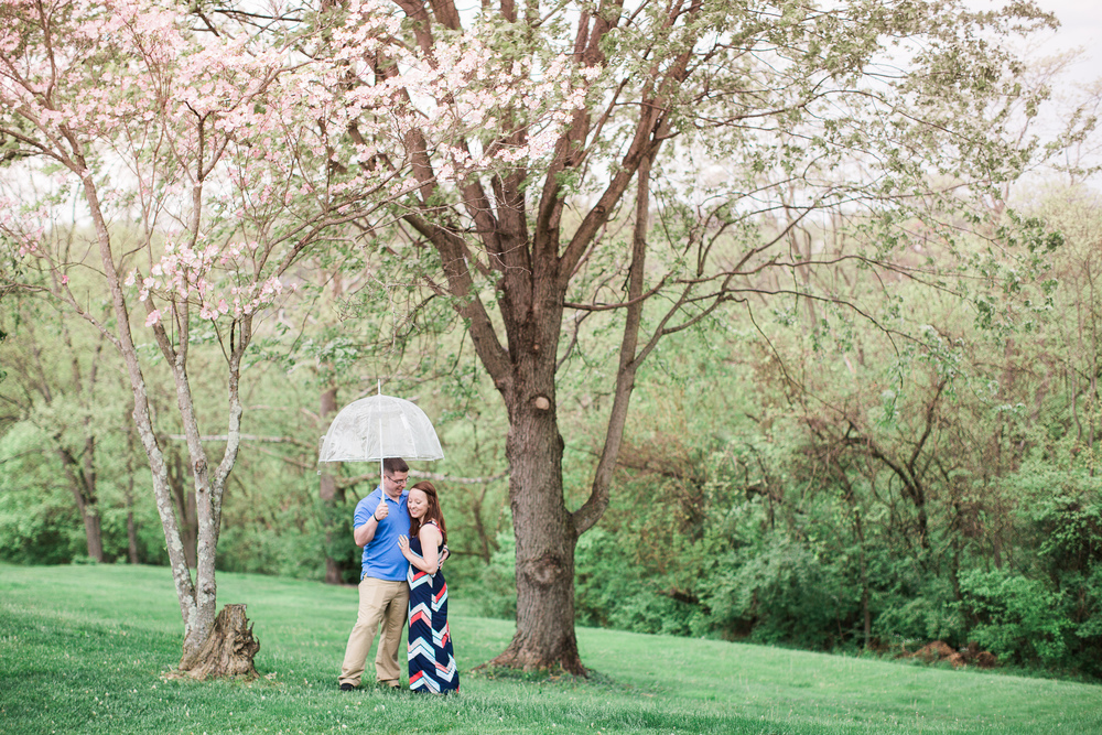 couple under an umbrella in spring