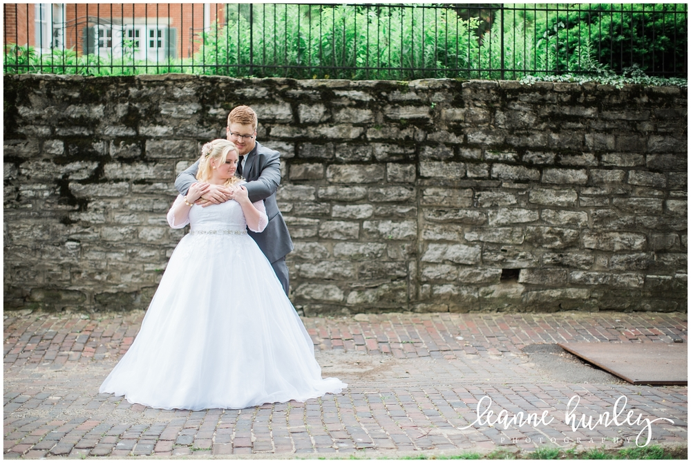 bride and groom at george rogers clark park in covington kentucky
