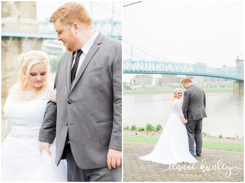 bride and groom portraits cincinnati river
