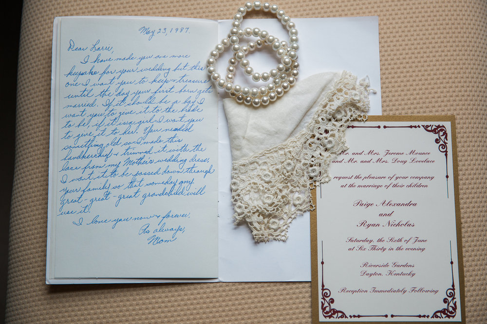 This was a card from Paige's mothers mother on her wedding day. So we incorporated here something new, old, blue, the whole bit and its one of my faves even if it was taken from one of my very first weddings!