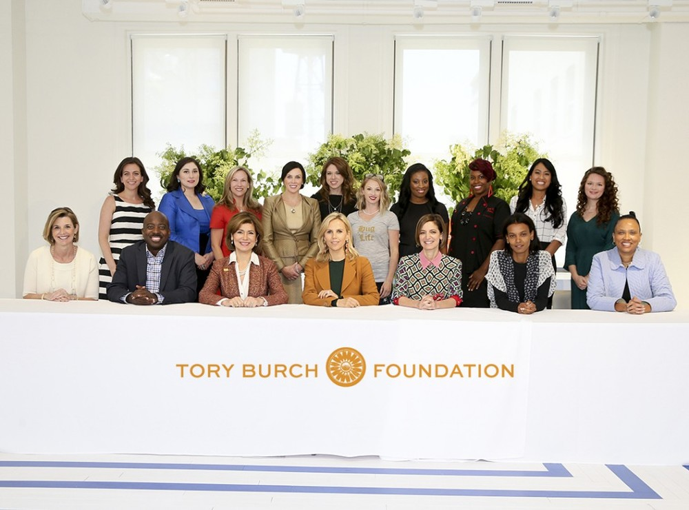 Emellie at the Tory Burch Foundation workshop in New York with fellows and judges.