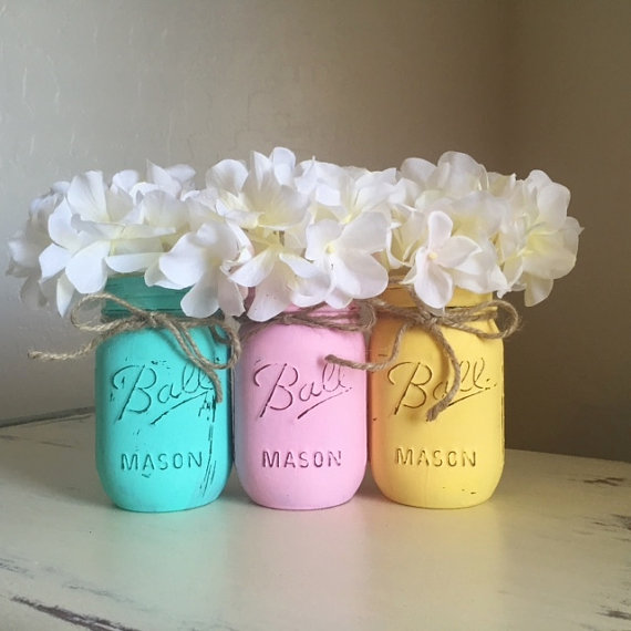 Coloured Mason Jar Vases