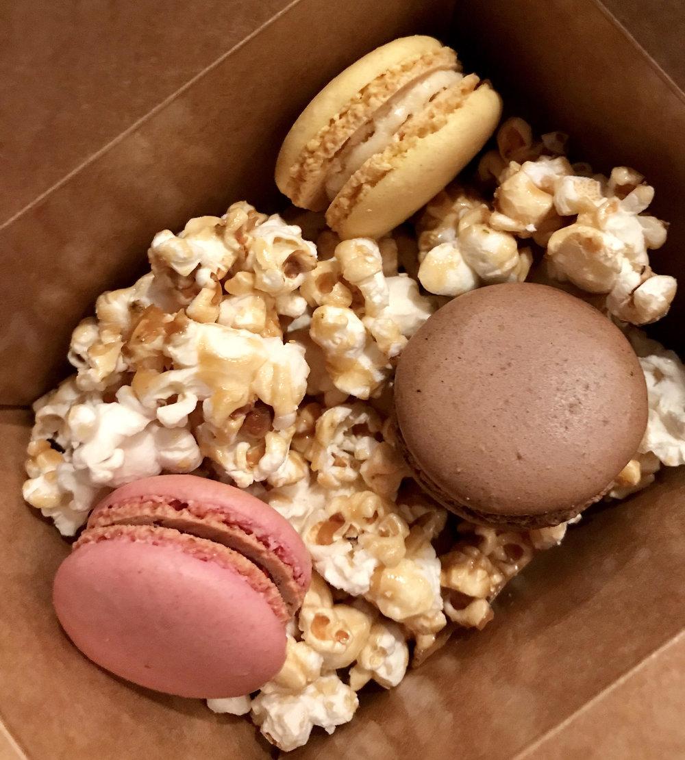 caramel popcorn and macaroons.jpg