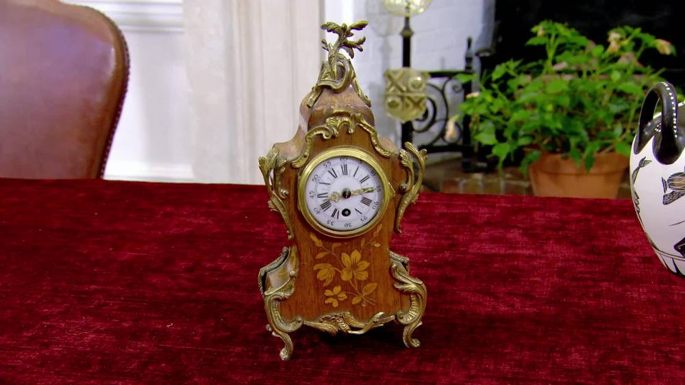 French mahogany clock with gilt metal. £700 | The Swan | www.theswan.co.uk