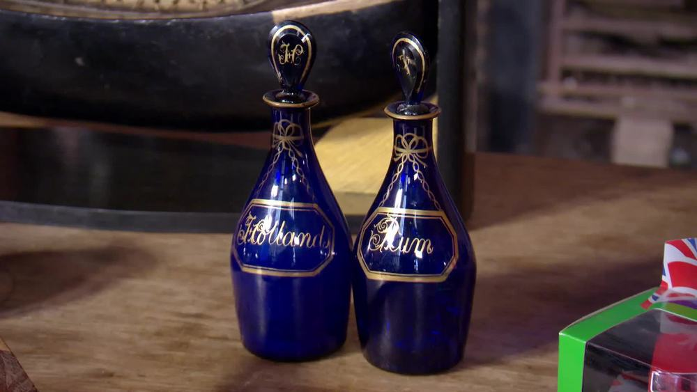 George III Bristol Blue Glass Pair of Decanters Hollands Rum. £400 | Parade Antiques | www.paradeantiques.co.uk