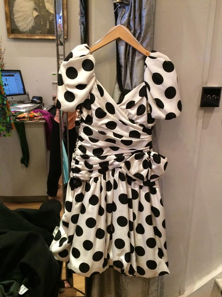 Monochrome Lillie Rubin Polka Dot Dress The Lillie Rubin fashion house was founded in 1946 in Miami, Florida. Polka dots where everywhere in the 80s worn by many trend setters of the day such as Madonna and Prince.