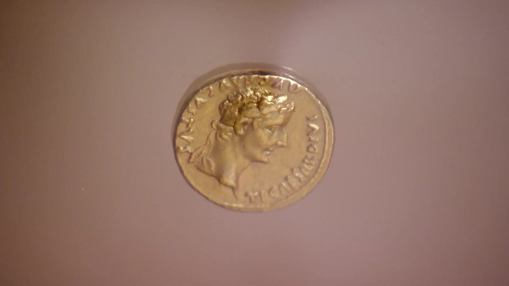 An AD 14-15 Tiberius gold Aureus. £15,000 | Baldwin's | www.baldwin.co.uk