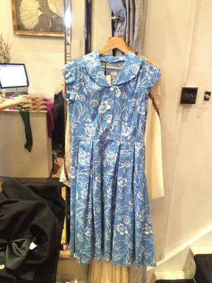 Shirt Waister Dress Blue and White Floral Printed cotton. Fitted waist and v full skirt. Large collar v caped sleeves. Metal zip. Home made – look at zip collar face in.