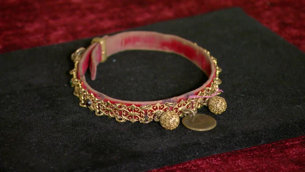 Rare Victorian gilt brass dog collar with intricate metalwork and semi precious stones set in velvet. £1000 |Maison Dog |www.maisondog.co.uk