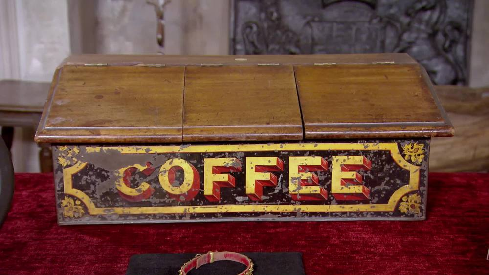 Black and gold coffee decorated shop display tin with three mahogany lids. £410 | Private Collection