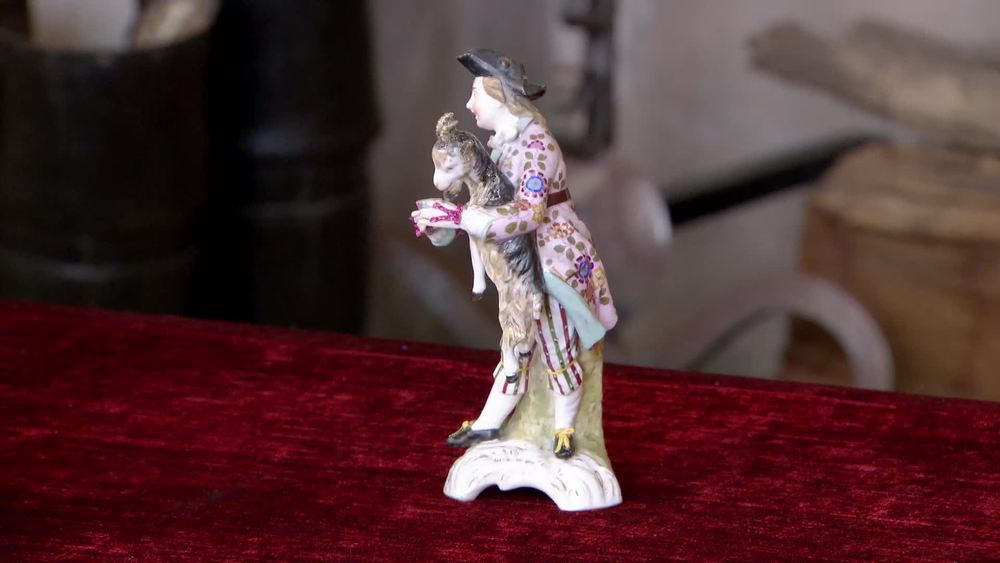 19th century porcelain figure with goat. £180 | The Swan | www.theswan.co.uk