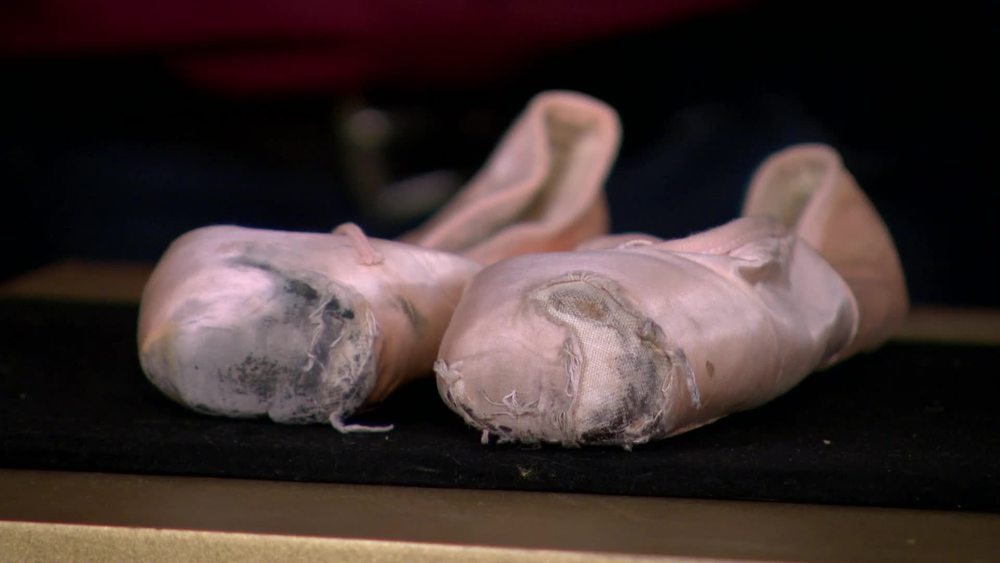 A pair of pink silk ballet shoes by Freed of London worn by Margot Fonteyn. £3500 | Suttons and Robertsons | www.suttonsandrobertsons.com