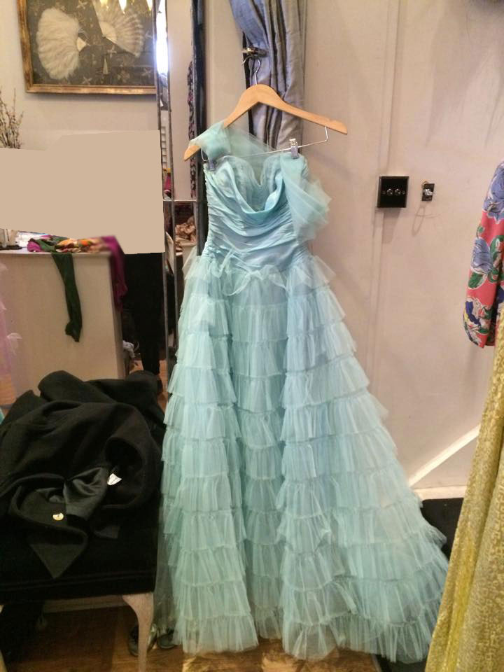 Pale blue layered american ball gown Full-skirted ballgowns first became popular in the Victorian period, when they were supported by stiffened petticoats known as crinolines.