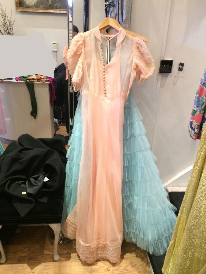 Full length pink Organza dress matching slip Organza is principally woven in China's Zheijang province and in the Bangalore region of India.