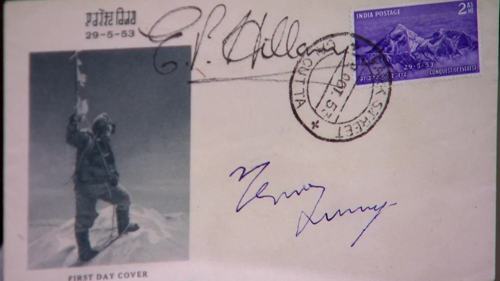 A First Day Cover dated 1953 and commemorating the conquest of Everest by Hillary and Tensing and signed by both. £600 |Autografica |www.autografica.co.uk