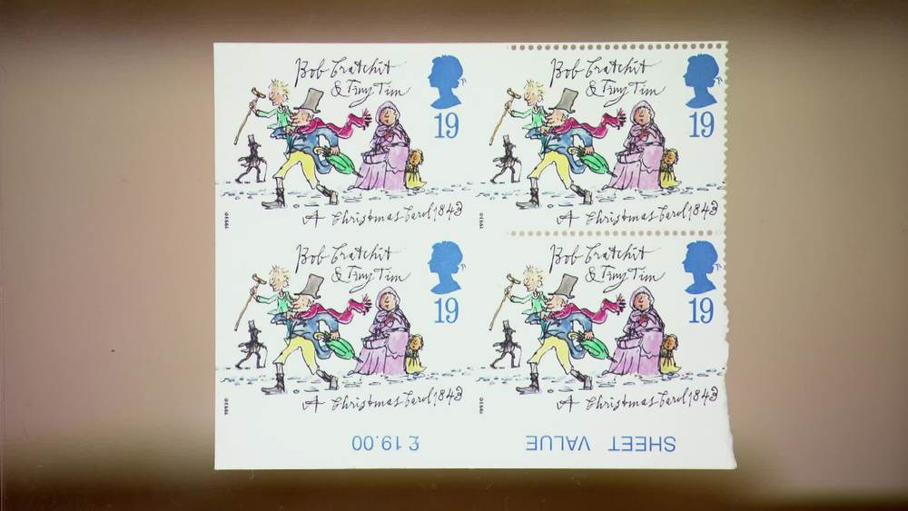 19p Christmas Stamp illustrated by Quentin Blake for Christmas 1993. Very fine unmounted o.g. partially perforated bottom marginal block of four, the left hand vertical pair completely imperforate. £10,000 | Stanley Gibbons | www.stanleygibbons.com