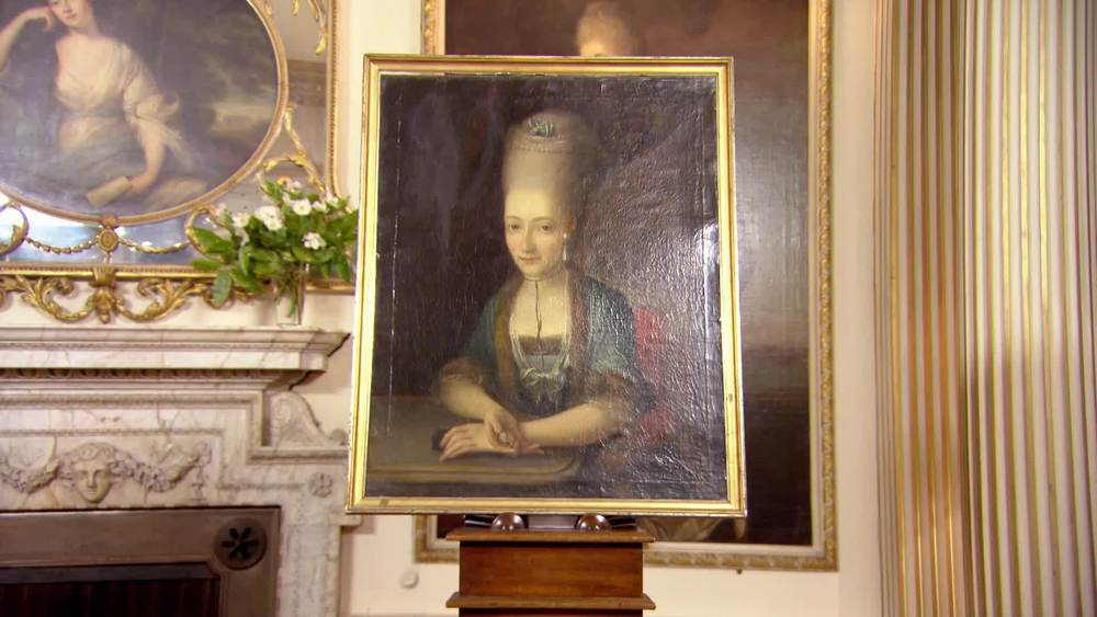 An 18th Century portrait of a lady holding a miniature of her husband. £1750 | The Swan | www.theswan.co.uk