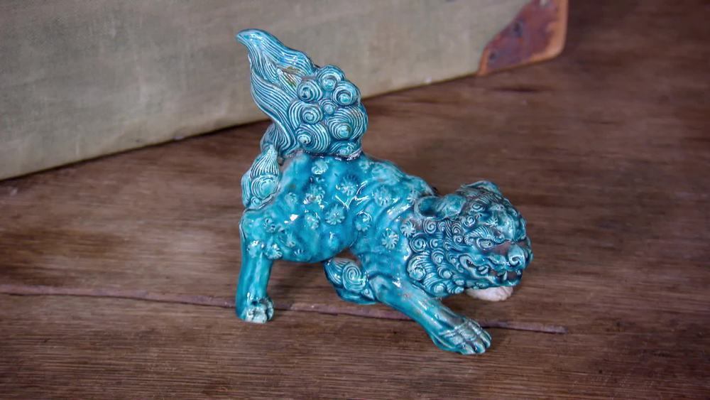 Blue glaze lion. £20 | Private Collection
