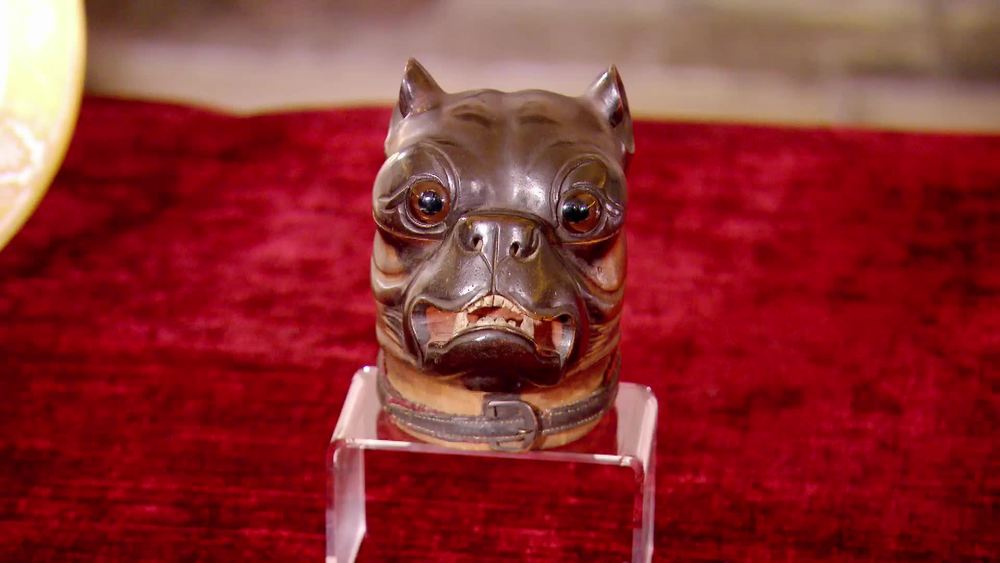Victorian Bulldog Head Inkwell with glass bottle- 1879. £1500 | Maison Dog | www.maisondog.co.uk