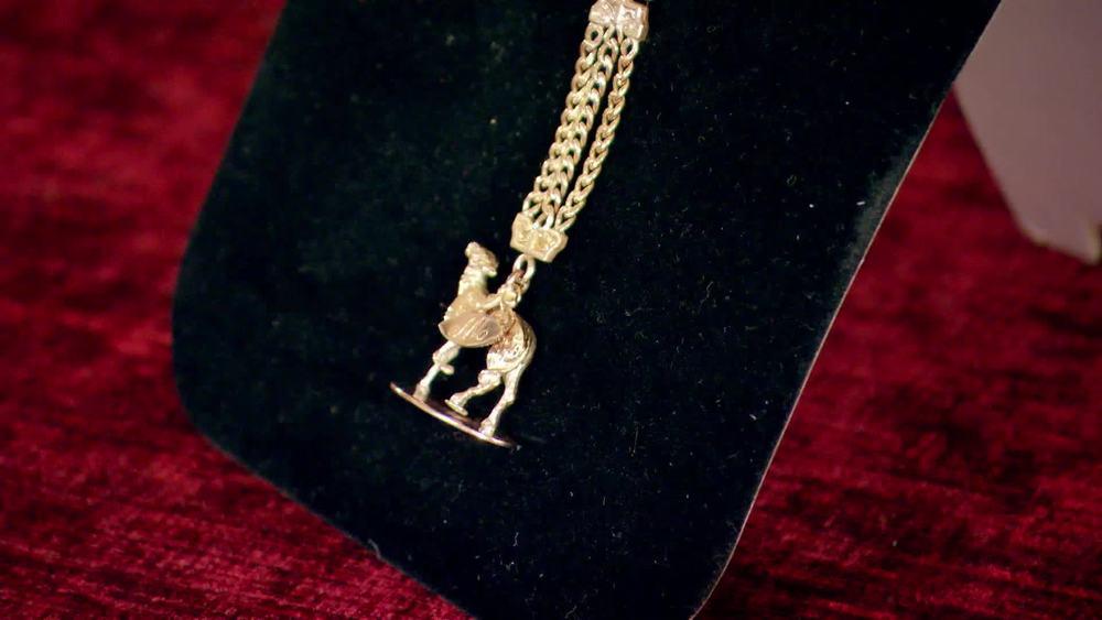 Victorian 9 carat rose gold greyhound fob set on a ladies chain. £600 |Maison Dog |www.maisondog.co.uk