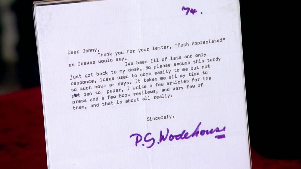 Typed letter signed by PG Wodehouse from 1974, the year before the novelist's death. £300