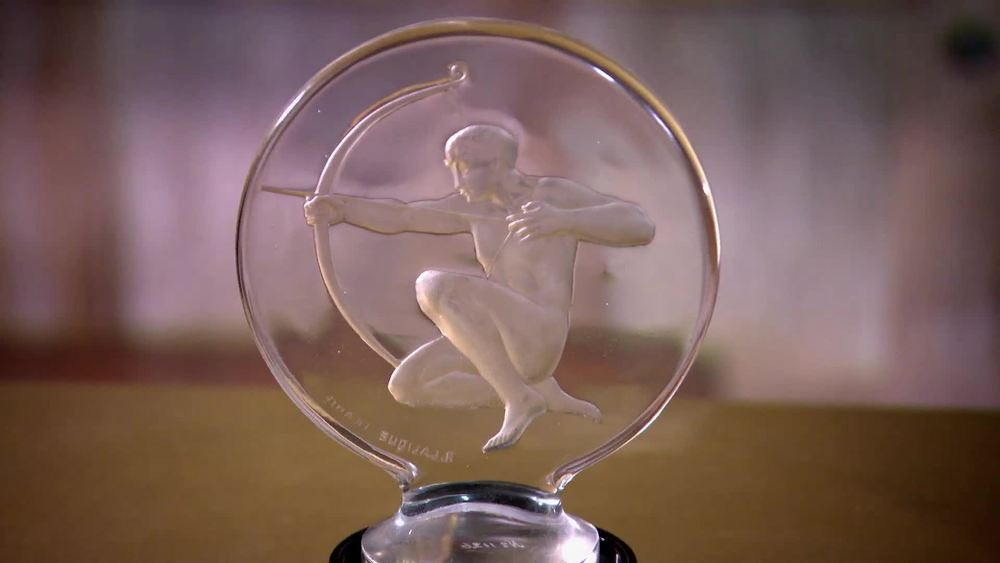 Lalique Archer. This Archer Car mascot was produced in 1926. It is less rare than other Lalique glass mascots, as a relatively high volume of this type were produced. £3500 | Geoff