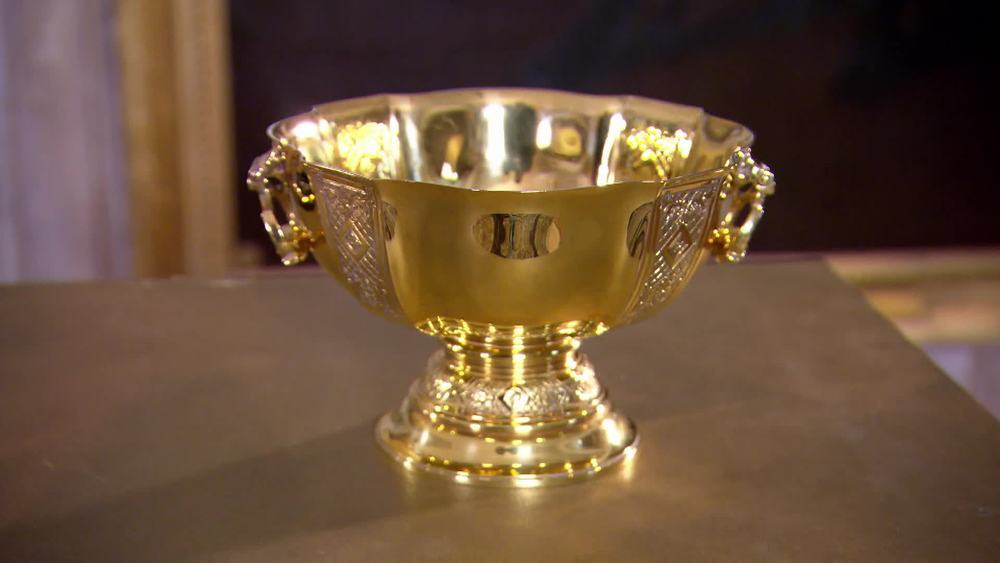 9 carat gold bowl. This is only small (11cm tall). Its unusual to get solid gold items and people might think its silver gilt or not even gold. Also, the style looks like it might be 1730s but its clearly not that old. Circa 1920. £10,970 | I Franks London | www.ifranks.com