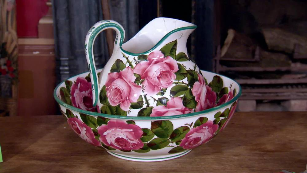 c1890 Wemyss Ware Large Toilet Basin Bowl & Jug Rose Pattern. £1200 | Parade Antiques | www.paradeantiques.co.uk