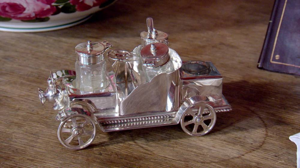 Silver plated cruet set vintage car. £250 | The Swan | www.theswan.co.uk