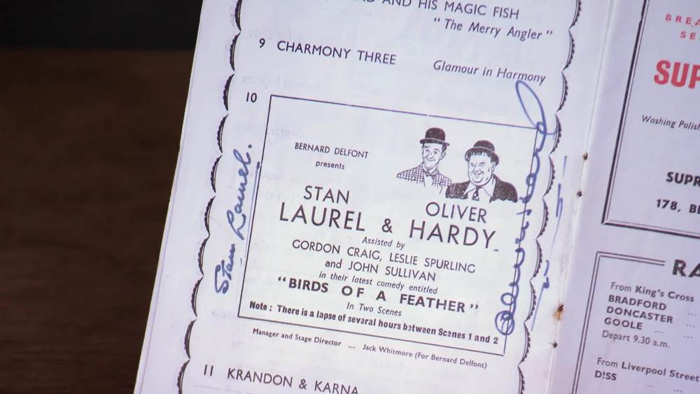 A theatre programme for the Finsbury Park Empire 1954 signed by Laurel and Hardy. £500 | Autografica | www.autografica.co.uk