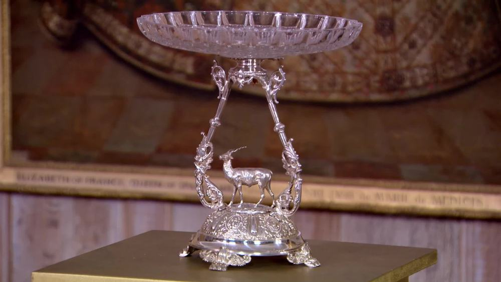 Sterling Silver Victorian Stag Motif Fruit Stand with Cut Glass Top, 1880. £3500 |Suttons and Robertsons |www.suttonsandrobertsons.com