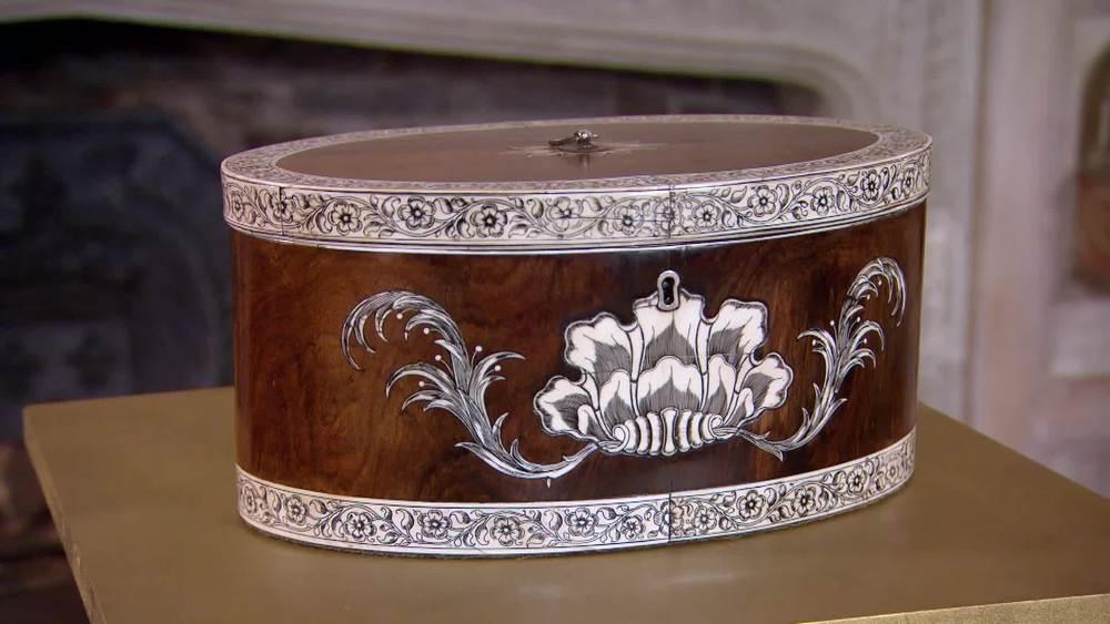 An Anglo Indian Oval Tea Chest Circa 1800. £22,000 |Hamptons Antiques |www.hamptonantiques.co.uk