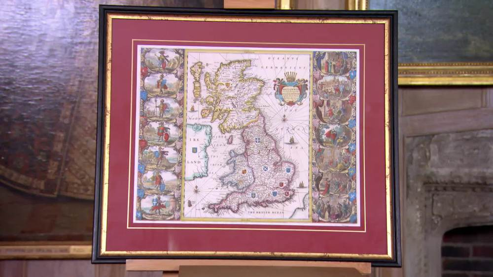 17th or early 18th century hand tinted map of Britannica. £2150 |The Swan |www.theswan.co.uk