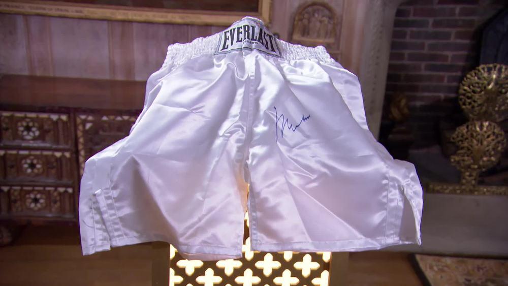 Signed Muhammed Ali Boxing Shorts. £1800 |Fundraising Auctions |www.fundraising-auctions.co.uk