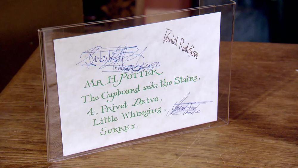 Harry Potter 'Cupboard under the stairs'envelope signed by Dan Radcliffe, Rupert Grint and Jamie Waylett. £1000 | Quite Bizarre |www.quitebizarre.co.uk