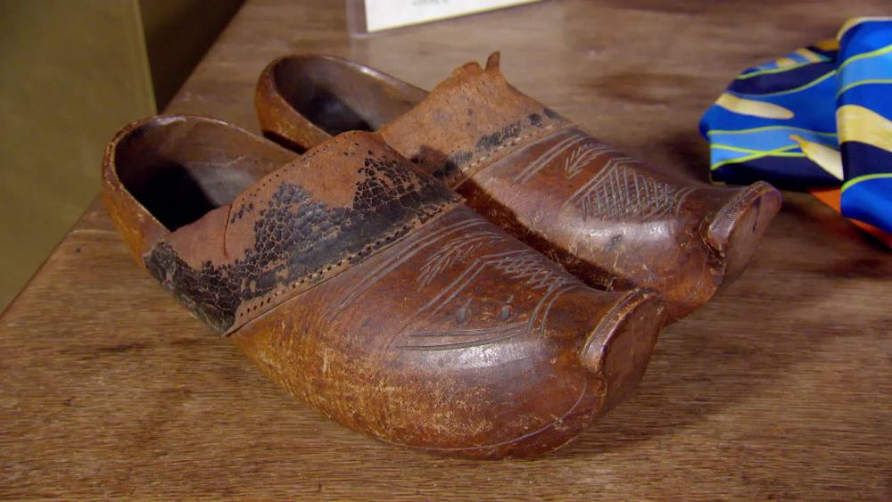 Pair wooden and leather clogs. £50 | Private Collection