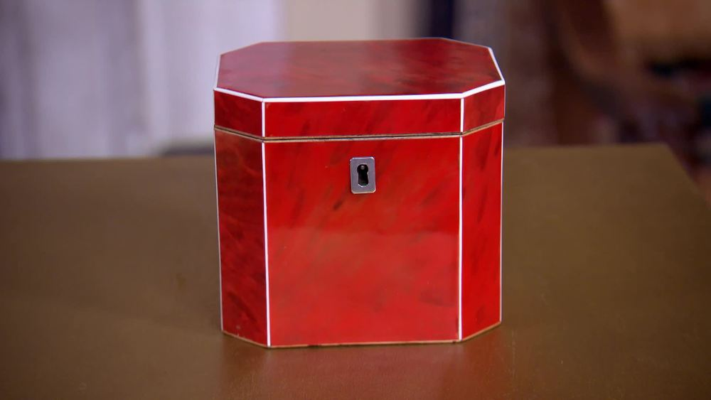 Octagonal red tortoiseshell tea caddy with Ivory edging, silver escutcheon. £11,000 | Hamptons Antiques | www.hamptonantiques.co.uk