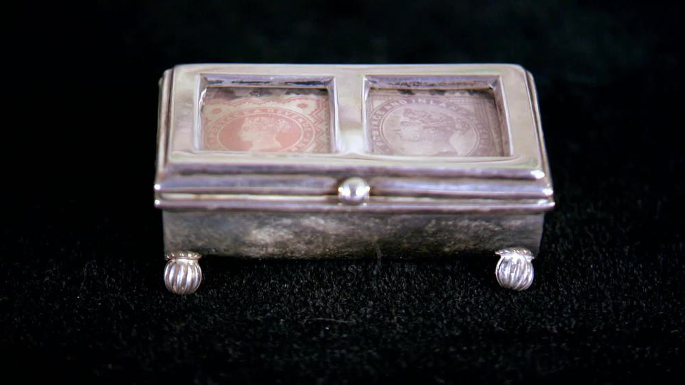 Silver twin set box with cover, containing two Victorian stamps from Birmingham 1897. £240 | The Swan |www.theswan.co.uk