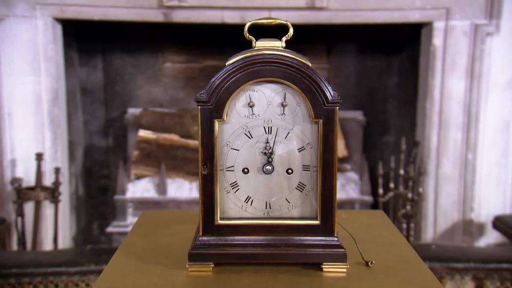 A small George III ebonised and brass bound bracket clock by Josiah Emery. £22,000 | Anthony Woodburn |www.anthonywoodburn.com