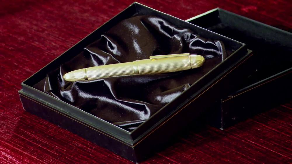 18ct yellow gold 75 years Anniversary limited edition Mont Blanc Pen in box. £3500 | Sutton and Roberts | www.suttonsandrobertsons.com