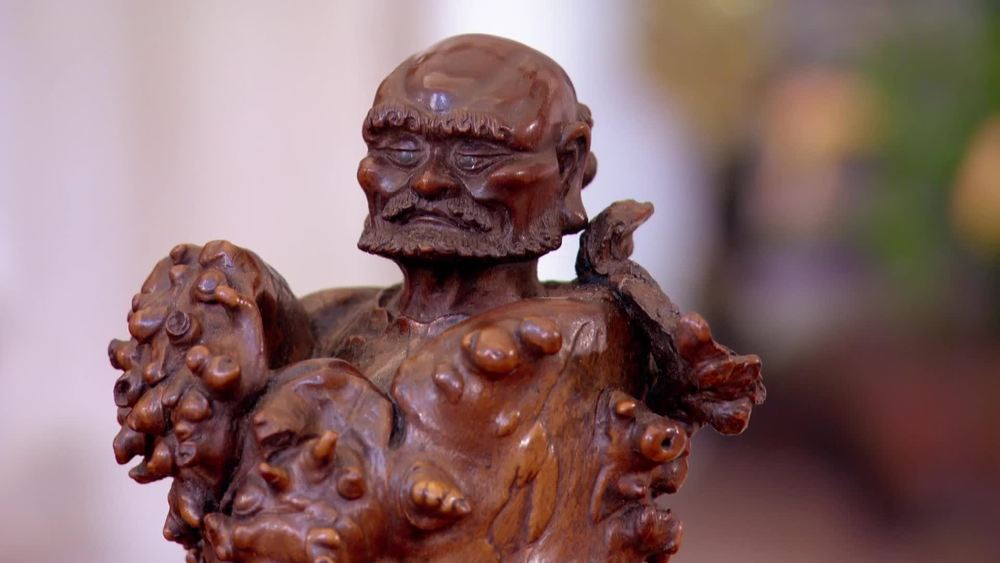 A Chinese wood root carving of an immortal god from 18th/19th century. £1950 | JAN Fine Art | www.jan-fineart-london.com