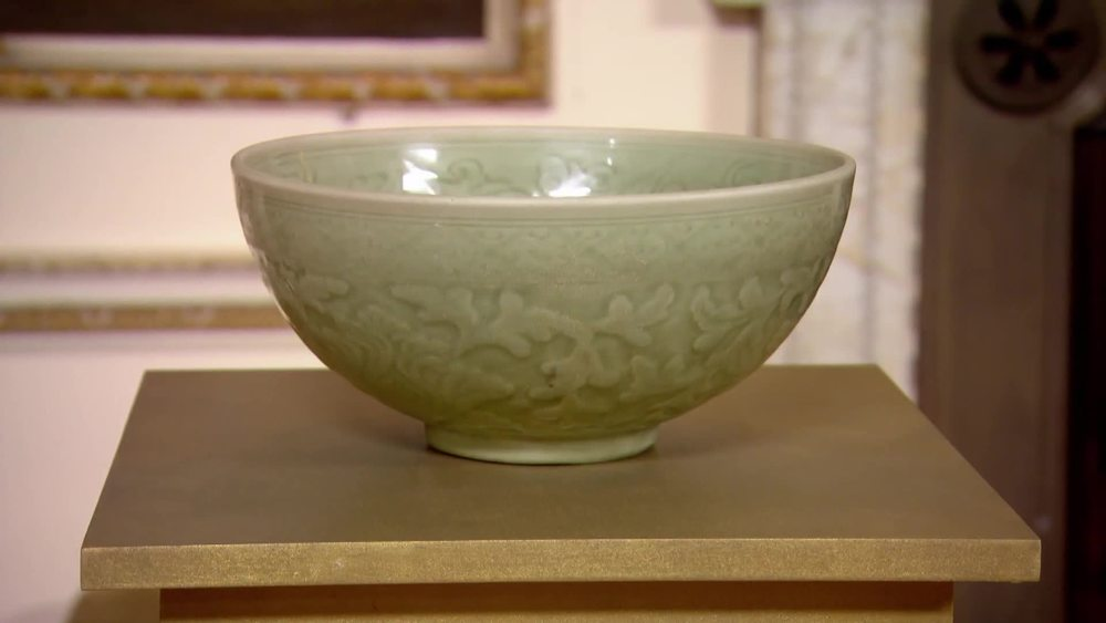 15th century Celadon ware bowl with moulded decoration of peonies and chrysanthemum flowers. Hand incised, rare and in good condition. £24,000 | JAN Fine Art | www.jan-fineart-london.com