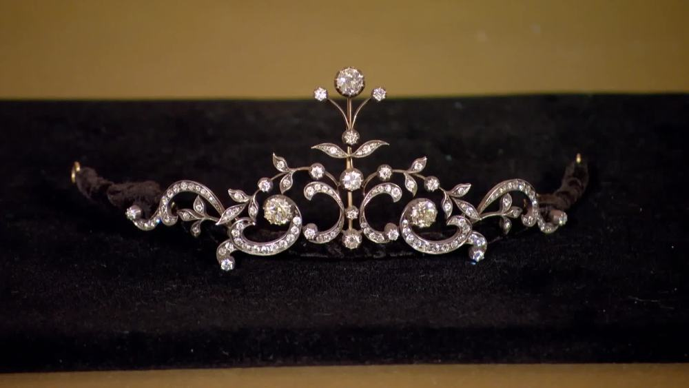 1890 Period silver and yellow gold floral design Tiara. Comprising of three principal stones 1.93, 1.71 and 1.48 cts. The remaining stones have a total diamond weight of approximately 8 cts. Tiara converts to a necklace. £55,000 | Michael Rose | www.michaelrose.com