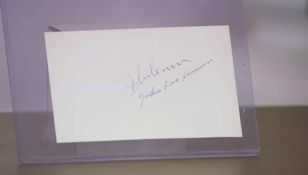 Yoko Ono and John Lennon Signature Rare to have both signatures on the same page. John Lennon is obviously more known for his part in the Beatles and so that is where his signature holds more value. Price: £1,800 Visit Autographs website