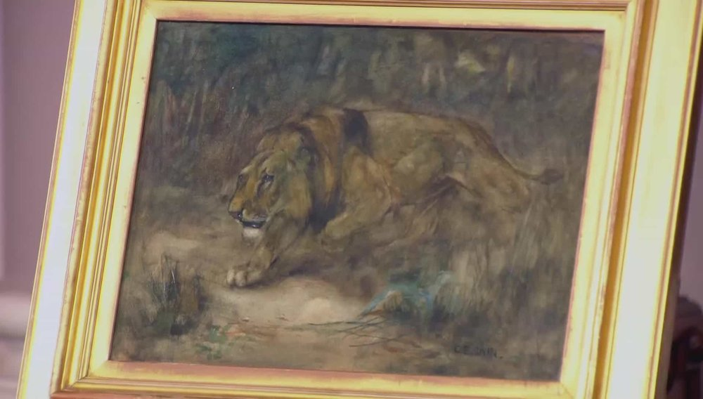 'A Lion' 'A Lion' watercolour by Cuthbert Edward Swan 1870-1931 (not precisely dated). He did a lot of watercolours of big cats. Animal subject matters especially exotic animals sell well. Price: £1,950 Visit Kaye Michie Fine Art website