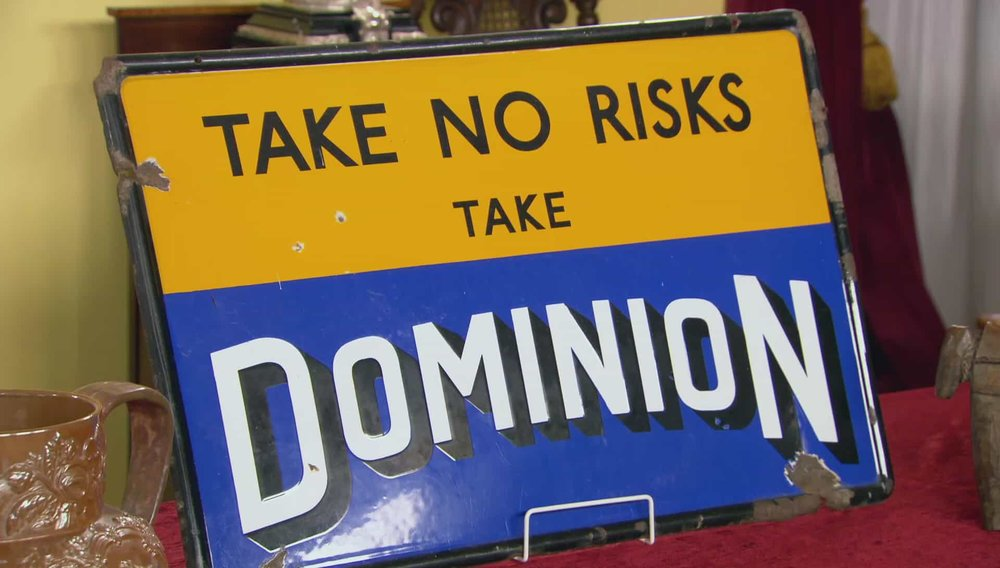 Take No Risk Sign Enamel 1940s. Appeals to 2 markets; people who collect automobilia and those who use it as a piece of art to decorate their home or garage Price: £680 Visit UK Restoration website