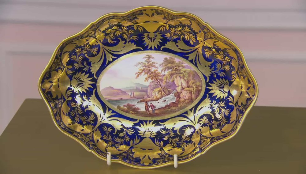 Derby Dessert Plate A DERBY porcelain oval shaped dessert dish, circa 1815. With a finely painted scene within a rich blue & gilt ground. Would be worth more if it had rest of the dessert service. Price: £1,950 Visit David Foord-Brown Antiques website