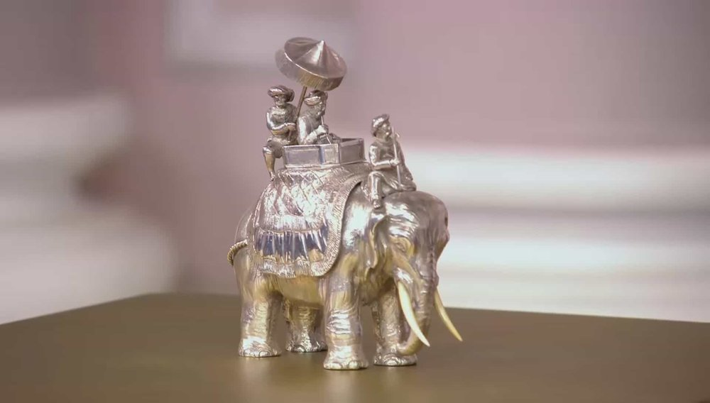 Victorian Silver Elephant with hidden inkwell Price: £11,000 Visit Langfords website