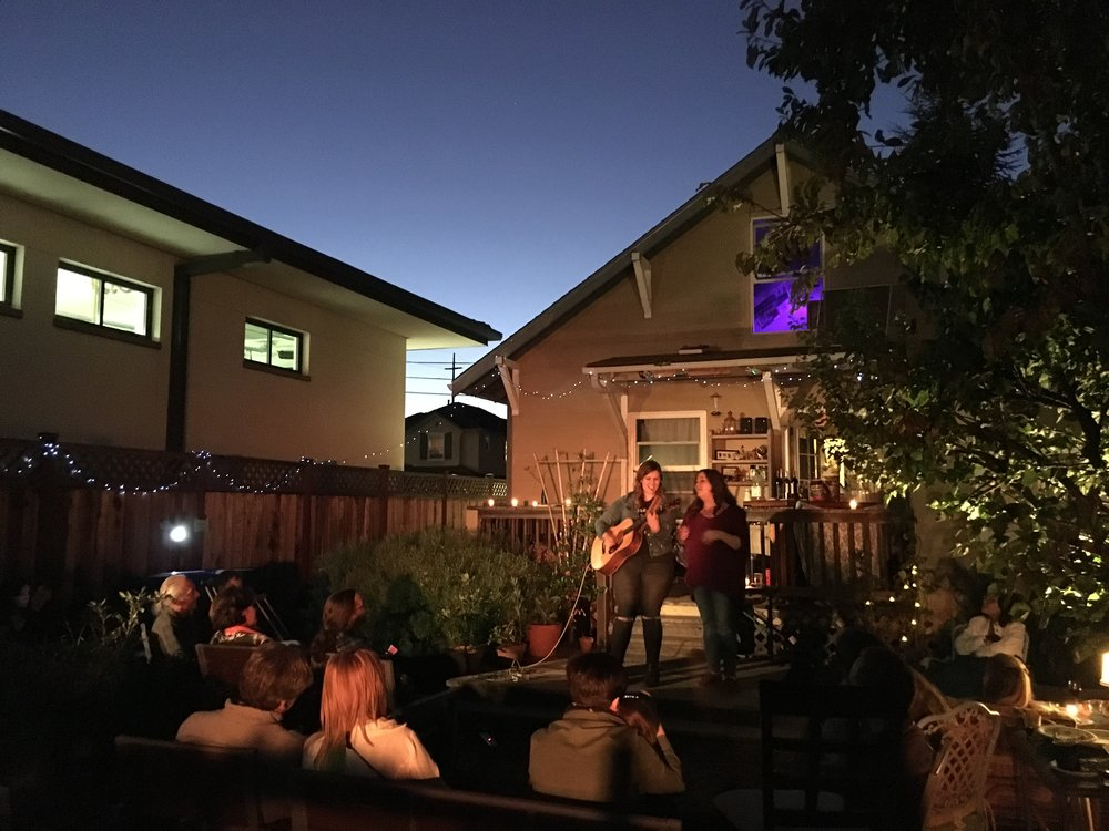 The Secret Sisters playing a sweet backyard house show in Oakland, CA