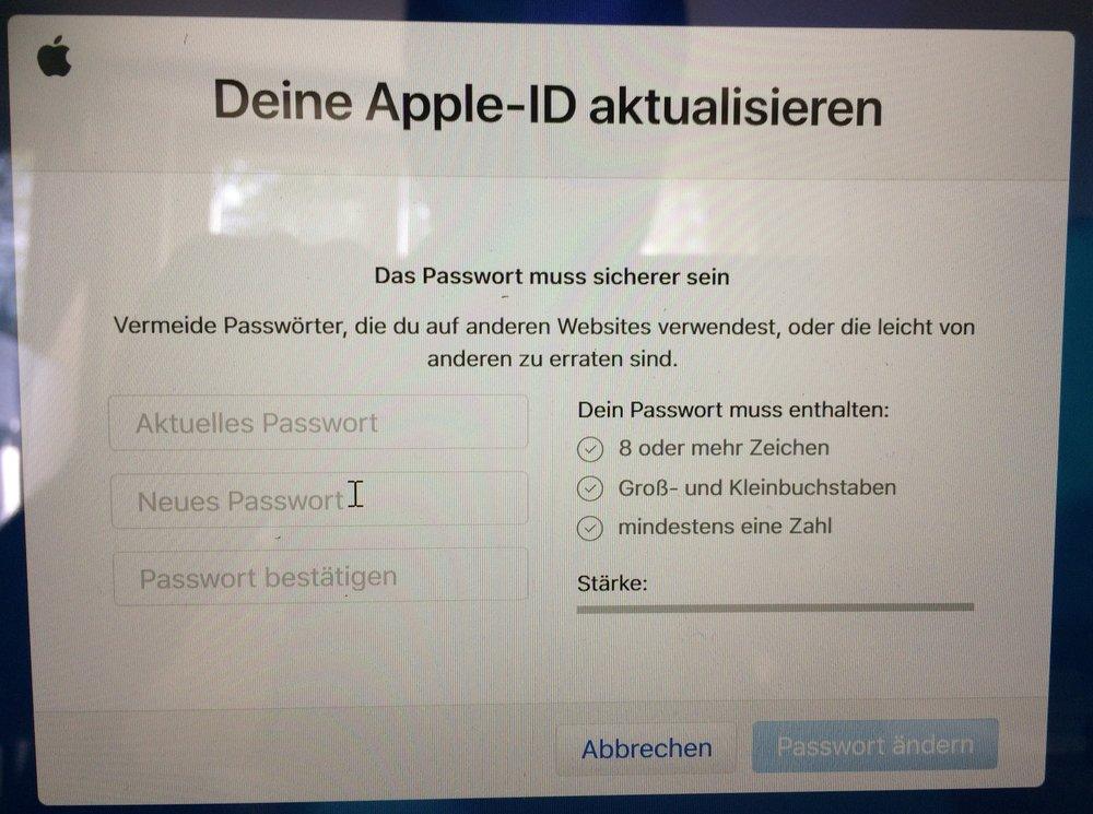 Apple ID Aktualisierung notwendig